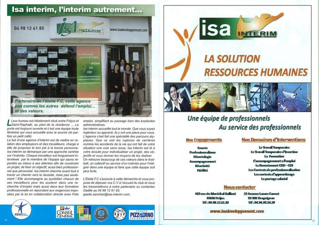 partenaires Etoiles FC - ISA-INTERIM-2013